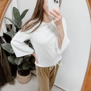 Casual Collection By F&F Minimalistic Bell Sleeve Tie Waist Top